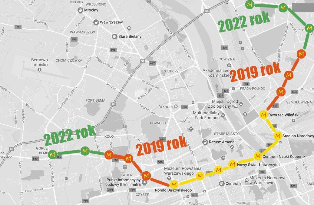 mapa II linii metra Warszawa
